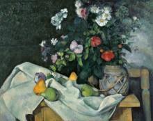 Натюрморт с цветами и фруктами - Сезанн, Поль