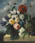 Натюрморт с цветами и фруктами, 1957 - Дора