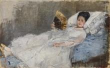 Женщина с веером на софе - Моризо, Берта