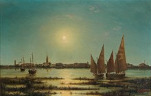 Вид на Градо в лунном свете - Рубелли, Людвиг