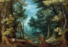 Лесной пейзаж с охотниками на оленя - Брейгель, Ян (Старший)