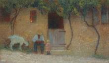 Крестьянин у порога дома в Лабастид-дю-Вер - Мартен, Анри Жан Гийом
