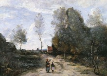Пейзаж с дорогой - Коро, Жан-Батист Камиль