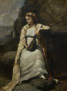Девушка в греческом одеянии с мандолиной - Коро, Жан-Батист Камиль