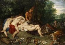 Сатиры, подсматривающие за спящими нимфами - Брейгель, Ян (младший)