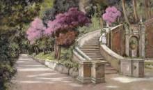 Розовые кусты и лестница в парке - Борелли, Гвидо (20 век)