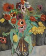 Анемоны и тюльпаны в голубой вазе - Вальта, Луи