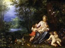 Мадонна с Младенцем, маленьким Иоанном Крестителем и путти в пейзаже - Брейгель, Ян (Старший)