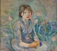 Крестьянская девочки среди тюльпанов - Моризо, Берта
