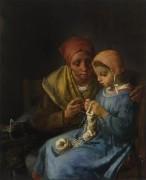 Урок вязания - Милле, Жан-Франсуа