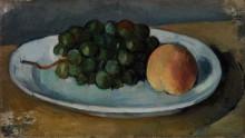 Виноград и персик на тарелке - Сезанн, Поль