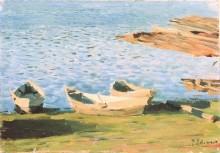 У берега. Лодки - Левитан, Исаак Ильич