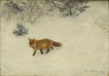 Лисица в зимнем пейзаже - Лильефорс, Бруно