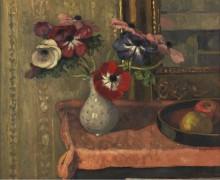 Натюрморт - ваза с цветами фруктами на столе - Андре, Альберт
