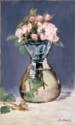 Моховые розы в вазе - Мане, Эдуард