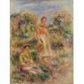 Две женщины на фоне пейзажа (этюд) - Ренуар, Пьер Огюст