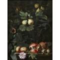 Натюрморт с фиговой веткой и яблоками, розой и гранатами на постаменте - Брейгель, Абрахам