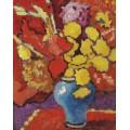 Ваза с цветами на красном фоне - Вальта, Луи