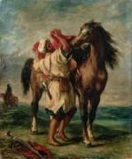 Марокканец, седлающий коня - Делакруа, Эжен