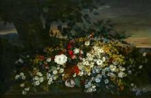 Букет цветов на фоне пейзажа - Курбе, Гюстав