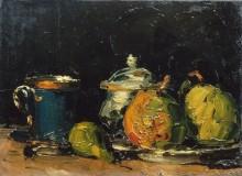Натюрморт с сахарницей, грушами и синей чашкой - Сезанн, Поль