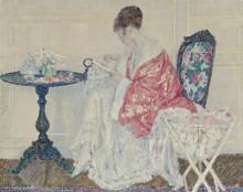 Девушка за вышивкой, 1914 - Фризек, Фредерик Карл