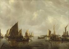 Река с голландскими судами. Штиль - Капелле, Ян ван де