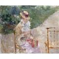 Женщина за вязанием - Моризо, Берта