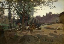 Пейзаж с крестьянами под деревом - Коро, Жан-Батист Камиль