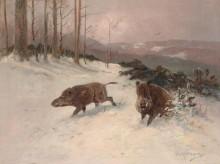 Зимний пейзаж с дикими кабанами - Мюллер, Мориц