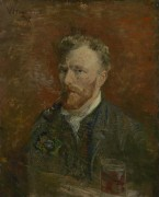 Автопортрет с трубкой и стаканом (Self Portrait with Pipe and Glass), 1887 - Гог, Винсент ван