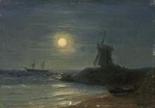 Ветряная мельница в лунном сиянии - Айвазовский, Иван Константинович