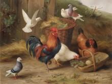 Куры и голуби у плетеной корзины - Хант, Эдгар