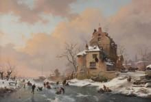 Конькобежцы возле замка в зимний день - Круземан, Фредерик Маринус