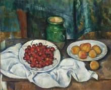 Натюрморт с вишнями и персиками - Сезанн, Поль