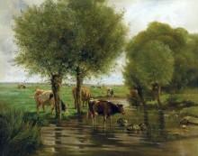 Стадо коров у водопоя - Труайон, Констан