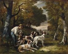 Лесной пейзаж с мальчиком и собаками - Диас де ла Пенья, Нарсис