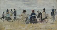 На пляже, 1883-87 - Буден, Эжен
