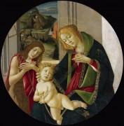 Мадонна с Младенцем, юный Иоанн Креститель и святым Франциском, получающим стигматы - Боттичелли, Сандро