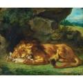 Лев, пожирающий зайца - Делакруа, Эжен
