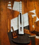 Гитара и бутылка, 1913 - Пикассо, Пабло