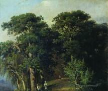 Лесной пейзаж с фигурами, 1880 - Шишкин, Иван Иванович