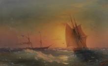 Корабли на фоне заката - Айвазовский, Иван Константинович