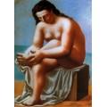 Обнаженная женщина сидя вытирает ноги, 1921 - Пикассо, Пабло