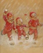 Дети, играющие в снежки
