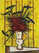 Букет цветов на желтом фоне - Бюффе, Бернар