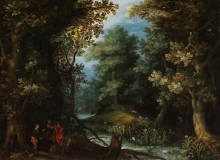 Охотники с собаками у лесного ручья - Брейгель, Ян (Старший)