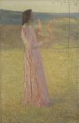 Женщина в розовом с лирой в поле - Мартен, Анри Жан Гийом