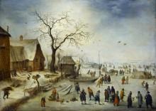 Деревня зимой с крестьянами на льду - Брейгель, Ян (младший)