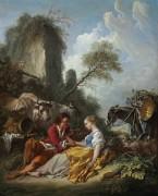 Пасторальный пейзаж с пастушкой и пастухом - Буше, Франсуа